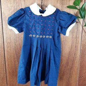 Vintage 70's Dark Blue Embroidered Disney Dress